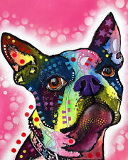 Boston Terrier Dean Russo Animal Dog Contemporary Print Poster 8x10
