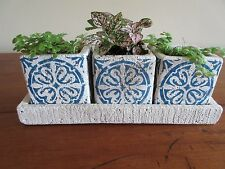 Mini Blue/Natural Cache Pot S/3 with Tray for Window or Decoration