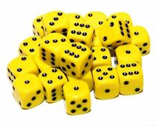 24 Yellow Dice, (six sided), 16mm , D6