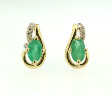 9ct Yellow Gold Emerald & Diamond Drop Stud Earrings (5x10mm)