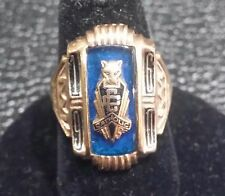 Vintage 1960 CATHOLIC High School Ring  Emblem on Sapphire 10k Gold  Size 71/2