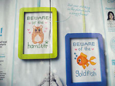PLAYFUL PET LOVER COLOURFUL SIGNS BEWARE OF HAMSTER/GOLDFISH CROSS STITCH CHART