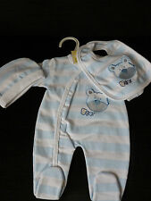 3 Piece Cotton  Baby Boys Blue   Layette Clothing Gift Set by Bee Bo new born