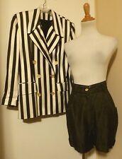 NWT NINETY BLACK & WHITE STRIPED JACKET & SHORTS Suit Set SIZE 8