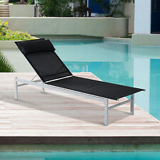 Adjustable Patio Reclining Outdoor Chaise Lounge Chair w/ Pillow Garden texilene
