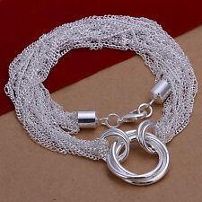 Damenhalskette Ankerketten Ringe 50 cm Halskette pl. mit  Sterlingsilber