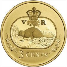 CANADA 2001 Sterling Silver Gold Plated 3 Cent Beaver Coin