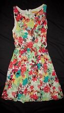 Alice + Olivia S Sm 2 4 Dress Silk Flowers Leaves Brown Yellow Red Women Sexy