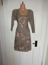 Monsoon Brown Sequin Jumper Dress, Small UK 10, New with Tags Reduced