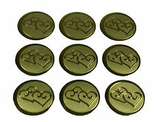 "100 GOLD Double Hearts Print Wedding Round Envelope Seal Stickers 1"" Diameter"