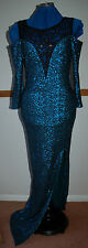 New Sz 8-10 Peacock Green Long Sequin Maxi Dress Open Shoulder Lace Neck