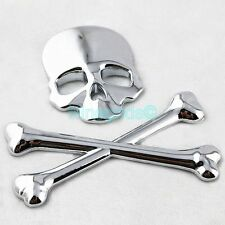 Chrome Sliver Crossbones Skull Emblem 3D Metal Car Truck Stickers Decals Badges