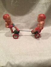 Old Tin & CELLULOID BOXERS *Vintage WIND-UP Toy