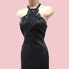 Exquisite Karen Millen Black Open Work Jacquard Halterneck Dress 8 UK