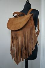 NEW Designr JJ Winters Large Suede BOHEMIAN Fringe Charlie Backpack Bag SRP $495