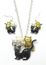 NECKLACE SET Triple CATS Black Yellow White Pendant Necklace And Earring Set