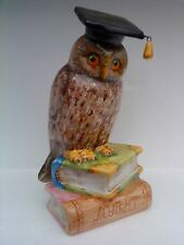 CERAMIC WISE OWL ON A PILE OF BOOKS SCULPTURE FIGURINE