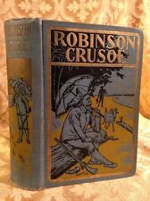 Life and Adventures of Robinson Crusoe Fine Binding Antique Book Daniel Defoe