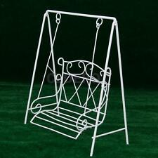 White Mini Metal Swing Rocking Chair Porch for 1/12 Dollhouse Garden Furniture