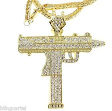 Uzi Submachine Machine Gun Iced-Out Pendant Gold Finish Necklace Franco Chain