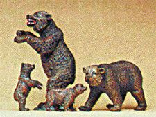 HO Preiser BROWN BEAR FIGURES  1/87 scale for ZOO / CIRCUS Diorama