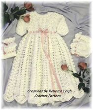CROCHET PATTERN ---for Christening Gown-Cap-Booties by REBECCA LEIGH-NB/3-12/18M