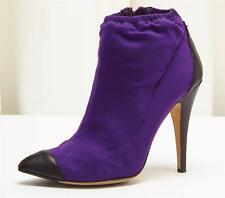 CHANEL Sample Purple Wool Black Leather Boot High Heel Ankle Bootie Shoe 9.5/41
