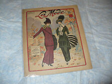 MODA FIGURINI RIVISTA FEMMINILE FRANCESE LA MODE N.4 1914 CARTAMODELLO DECALCABL