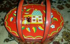 Vintage Red Pa Dutch Primitive Amish Picnic Basket Farmhouse Biscuit Tin Sewing
