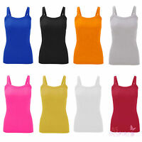 New Womens Ladies Plain Ribbed Vest Tops Strappy Long Stretch Top Casual T-Shirt