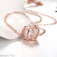 JD 1PC Womens Fashion Crystal Zircon Princess Crown Rose Gold Pendant Necklace