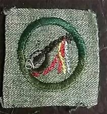 1928-1933 Girl Scout Badge MINSTREL - GREY GREEN SQUARE