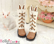☆╮Cool Cat╭☆【25-2】Blythe/Pullip Cute Bunny Ears 5 Hole Boots # Brown