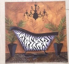 Cat Hargraves Art Poster Print CH1005 Bathroom Zebra (12x12)