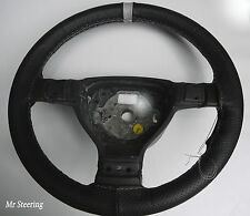 FITS 97-01 FORD PUMA BLACK PERFORATED LEATHER + GREY STRAP STEERING WHEEL COVER