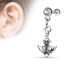 Fleur De Lis Anchor Surgical Steel Helix Tragus Cartilage Barbell Stud Earring