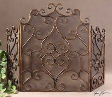"""Hand Forged Metal Fireplace Screen Aged Maple 55"""" Scroll 3 Panel Firescreen New"""