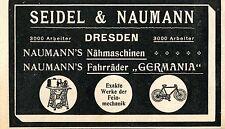 SEIDEL & NAUMANN DRESDA macchine per cucire & biciclette storica la pubblicità di 1911