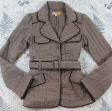 EUC Anthropologie Tulle beige brown Belted Quilted Jacket coat Size Small S