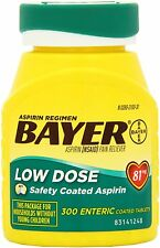 2 BOTTLE BAYER LOW DOSE 81mg DAILY ASPIRIN REGIMEN 300 ENTERIC COATED TABLETS EA