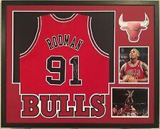 Dennis Rodman Autographed Custom Framed Chicago Bulls Jersey 1 Tristar Hologram