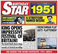 65th 1951 Birthday Gifts - 1951 Chart Hits Britpop CD and 1951 Greetings Card