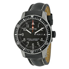 Fortis Official Cosmonauts Automatic Black Dial Black Leather Mens Watch