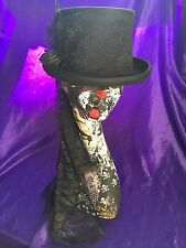 Gothic Black Wool Top Hat, Lace, Roses Whitby, Steampunk 4 Sizes Available