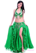 New Belly Dance Costume Outfit Set 3 Pics Bra&Belt&Skirt Bollywood Carnival