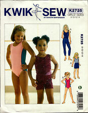 Kwik Sew Pattern K2725 2725 Gymnastics Leotard Leggings Shorts Dance Size 8-14
