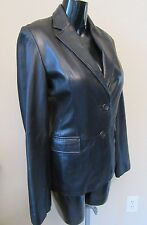 BANANA REPUBLIC 6 Soft Black LEATHER 2 Button Fitted Jacket Blazer Lined Womens