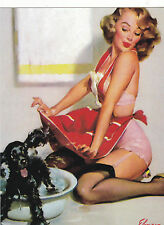 "*Postcard--""The Dog Bath/Old/classic Pinup Girl"" ---Classic-"