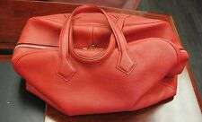 Hermes Victoria 43 Taurillon Clemence Leather Rouge Red Travel Handbag