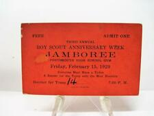 Vintage 1929 Third Annual Boy Scouts Anniversary Week Jamboree Troop 14 Ticket